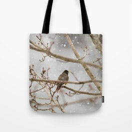 Robin Braving the Falling Snow Tote Bag