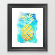 Tropical Hawaiian Pineapple Watercolor Framed Art Print