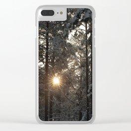 sun forest winter sunset Clear iPhone Case