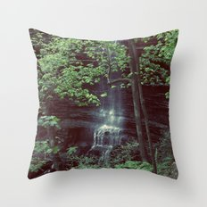 Waterfall Green Trees Color Photography Throw Pillow