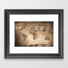 Stars world map. Sepia Framed Art Print