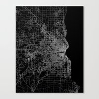 milwaukee Canvas Prints featuring milwaukee map by Line Line Lines