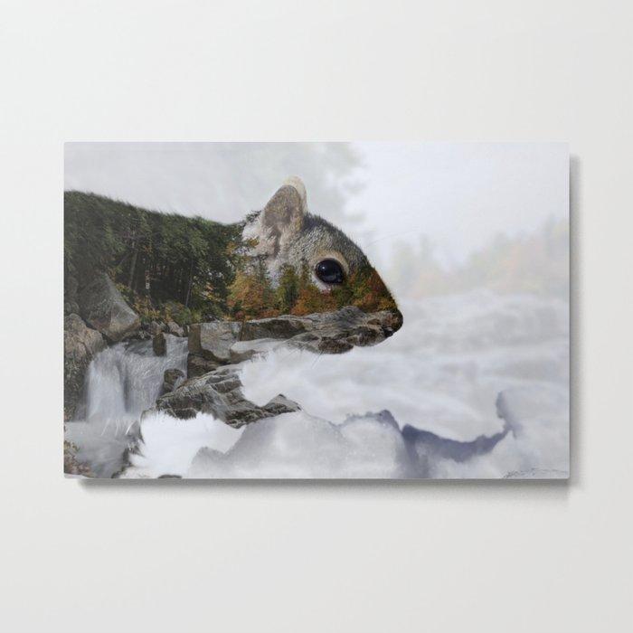 Waterfall Squirrel Metal Print