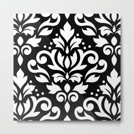 Scroll Damask Large Pattern White on Black Metal Print