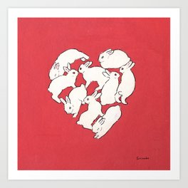Bunny heart Art Print