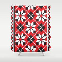 Slavik red, black and white floral cross stitch design pattern. Shower Curtain