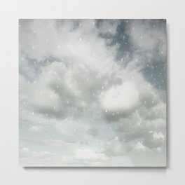 Snowing Winter Scene Illustration #decor #society6 Metal Print