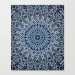 Gray and light blue mandala Canvas Print