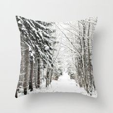 canopy of snowy branches Throw Pillow