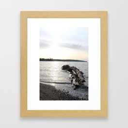 Logs Kits Beach Sunset Framed Art Print