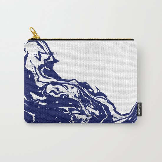 Indigo Wave water ocean abstract painting blue and white nautical trendy gender neutral dorm  Carry-All Pouch