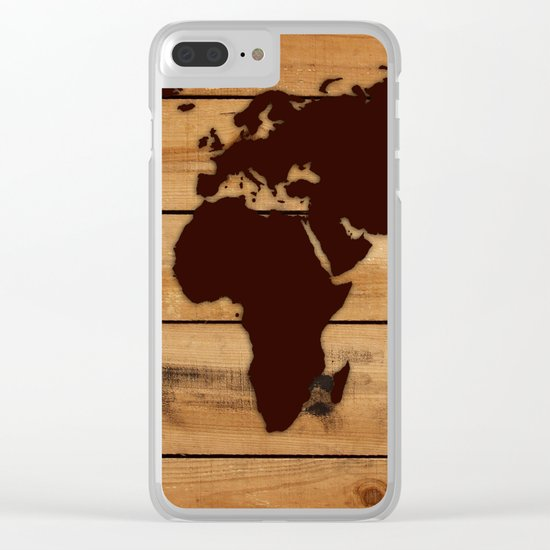 map world wood Clear iPhone Case