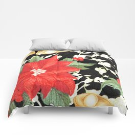 Vintage red green bright christmas floral Comforters