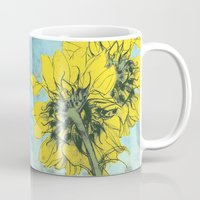alisa burke Mugs featuring The sunflowers moment by anipani