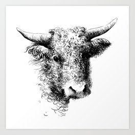 Hand drawn bull, cow, bison, bufalo head portrait   Art Print