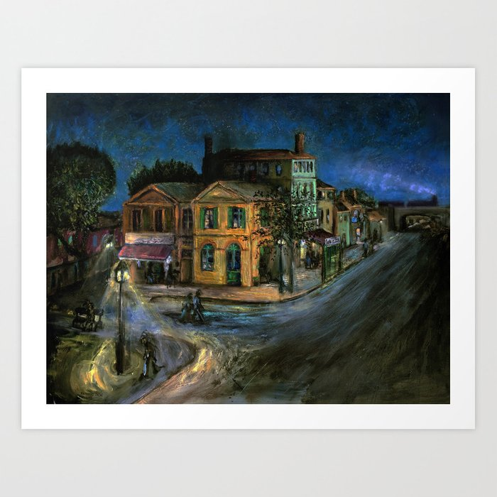 The Yellow House (oil on canvas) Art Print