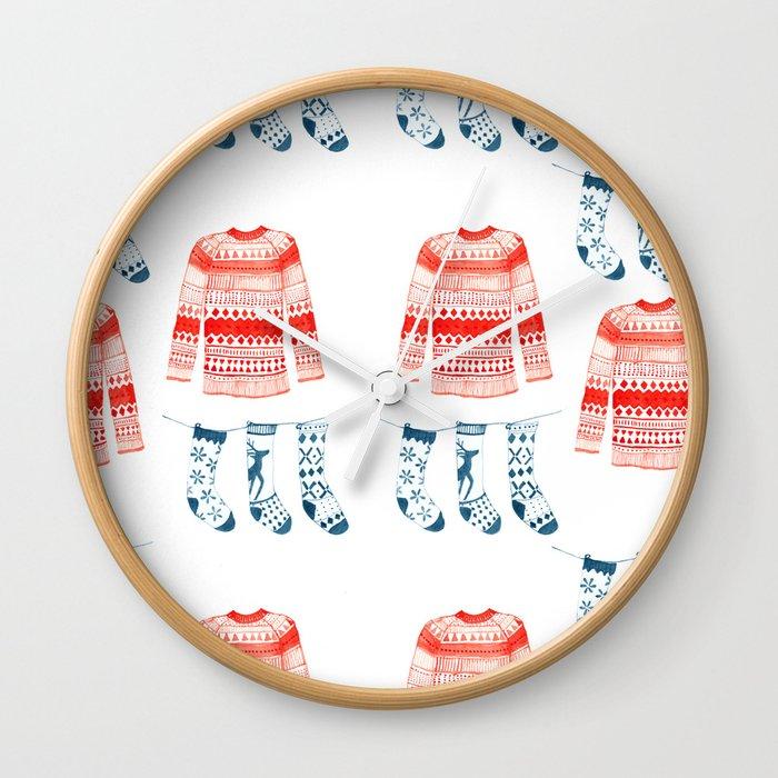 Winter sweaters Wall Clock