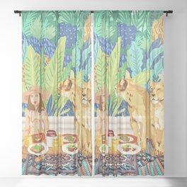 Jungle Breakfast #illustration #painting Sheer Curtain