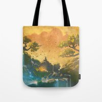 meditation Tote Bags featuring Meditation  by Michael Jared DiMotta Illustrations