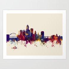Des Moines Iowa Skyline Art Print