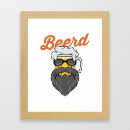 Beer And Beard Wordplay - Hipster Beer Mug Framed Art Print