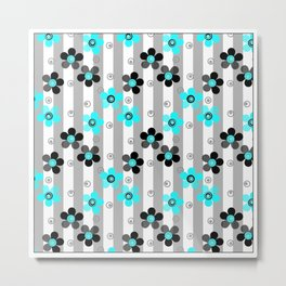 Black and turquoise floral pattern . Metal Print