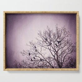 Dark Purple Birds Tree Branches Photography, Violet Black Bird Trees Nature Spooky Serving Tray