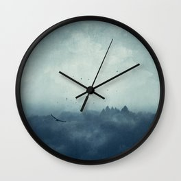 Flight Home - Mist Over Landscape Wall Clock