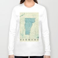 vermont Long Sleeve T-shirts featuring Vermont State Map Blue Vintage by City Art Posters