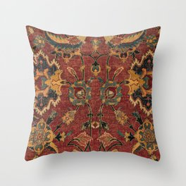 Flowery Boho Rug III // 17th Century Distressed Colorful Red Navy Blue Burlap Tan Ornate Accent Patt Throw Pillow