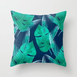 TROPICAL PATTERN BANANA LEAVES WATERCOLOR Throw Pillow