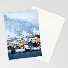 A Small Town in Norwegian Fjords Stationery Cards