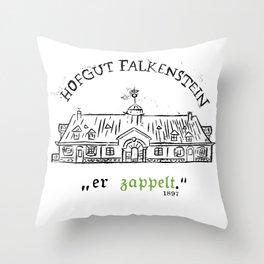 """Hofgut Falkenstein """"er Zappet"""" Black on White Throw Pillow"""