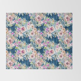 NAVY SO LUSCIOUS Colorful Watercolor Floral Throw Blanket