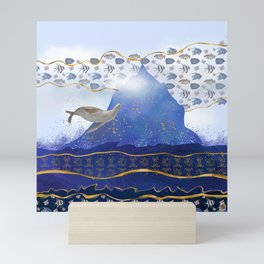 Flying Sea Lion Over Rising Oceans - Surreal Climate Change Painting Mini Art Print