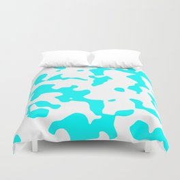 Large Spots - White and Aqua Cyan Duvet Cover