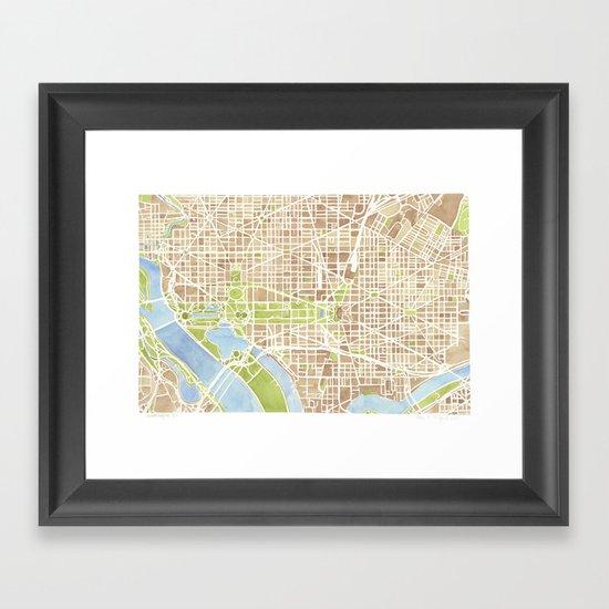 Washington DC watercolor city map Framed Art Print