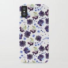 Watercolor decorative blue flowers heart iPhone X Slim Case