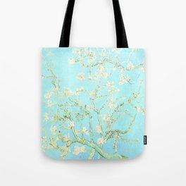 Vincent Van Gogh : almond blossoms Aqua Blue Tote Bag