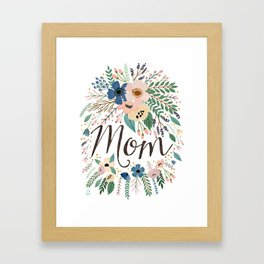 Mom typography with flowers Framed Art Print