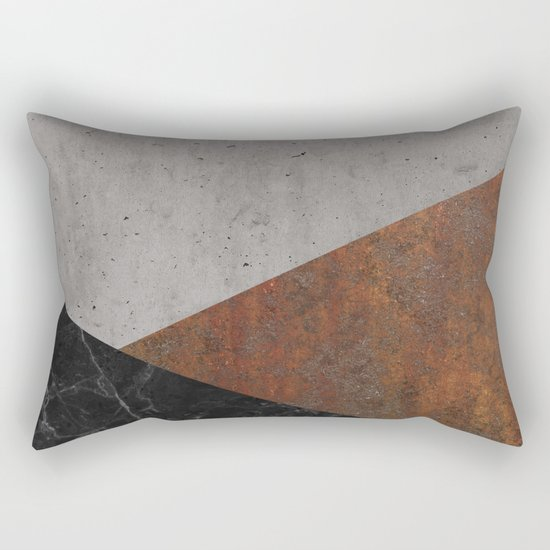 Concrete, rusted iron, marble abstract Rectangular Pillow