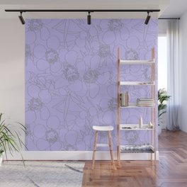Australian Waxflower Line Floral in Lilac Wall Mural