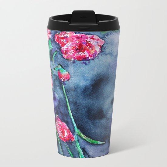 Flowers of the night    watercolor Metal Travel Mug