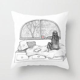 Rainy Day Window pencil illustration Throw Pillow