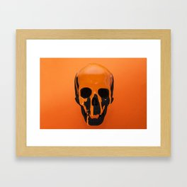 Orange Dripping Skul Framed Art Print