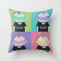 punk Throw Pillows featuring Punk? by Maripili