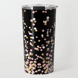 Floating Dots - White, Gold and Pink on Black Travel Mug