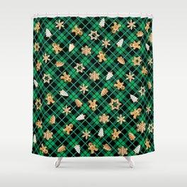 Gingerbread Green Shower Curtain