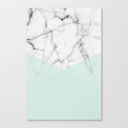 Real White Marble Half Mint Green Shapes Canvas Print