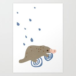 rainy day platypus Art Print